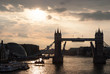 Tower bridge with skyline London, United Kingdom. Bridge over Thames river on cloudy sky. City buildings on river banks. Architecture and structure concept. Wanderlust and vacation