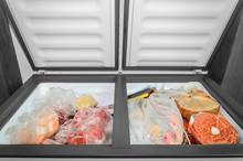 Frozen Food In The Freezer. Ba...