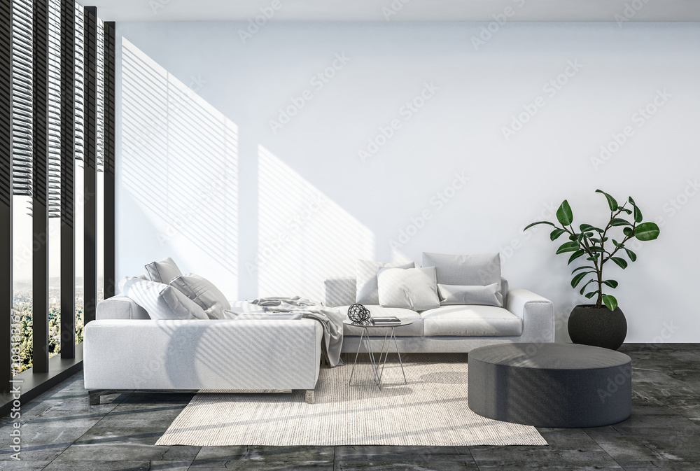 Fototapety, obrazy: Modern living room interior with white wall.