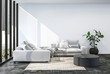 Leinwanddruck Bild - Modern living room interior with white wall.