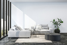 Modern Living Room Interior With White Wall.