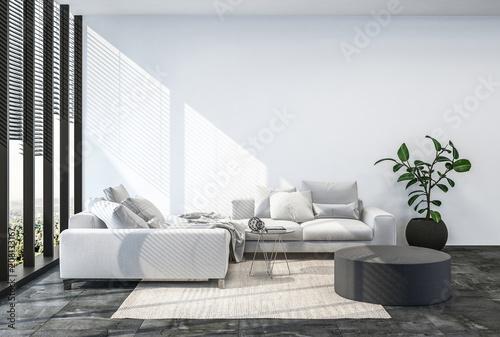 Obraz Modern living room interior with white wall. - fototapety do salonu