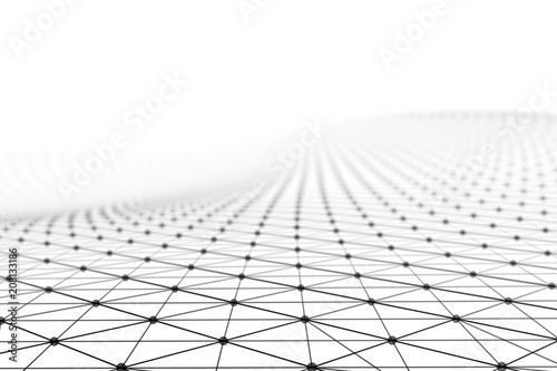 Fotografie, Tablou  Black network connection lines on white background for technology concept, 3d ab
