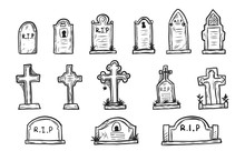 Set Of Grave Marker Vector On ...