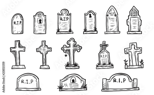 Photo Set of grave marker vector on white background
