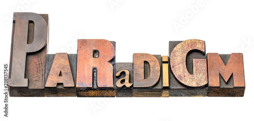 paradigm word abstract in wood type Wallpaper Mural
