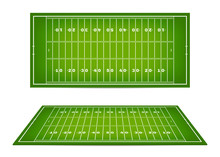 American Football Field With Marking. Football Field With Markup In Top View And 3d Perspective View