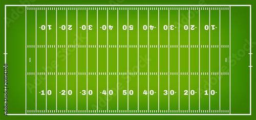 Futbol amerykański z oznakowaniem. Boisko piłkarskie w widoku z góry z białym znacznikiem