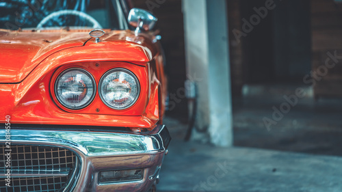 Spoed Foto op Canvas Vintage cars Vintage Car Headlight