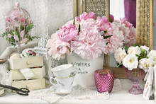 Bunch Of Peony In Shabby Chic ...