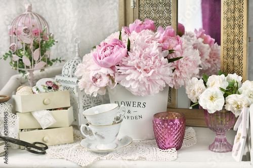 bunch of peony in shabby chic style interior