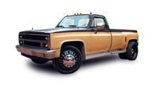 American Pickup Truck. White Background.