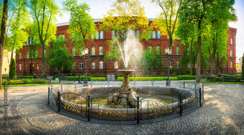 Photo sur Toile Fontaine Fountain in the park of solidarity in Elk. Masuria, Poland.