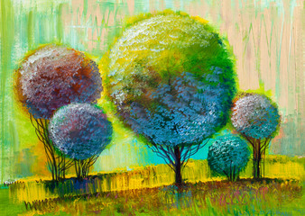 Obraz Trees, oil painting, artistic background