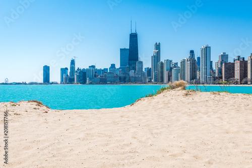 Poster Lieux connus d Amérique Chicago Skyline at North Beach