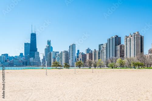 Fotobehang Amerikaanse Plekken Chicago Skyline at North Beach