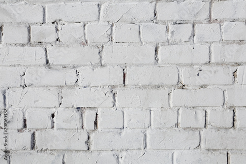 Photo sur Toile Brick wall White brick wall, perfect as a background, square photograph