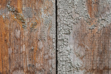 Old Wooden Boards With Cracks And Peeling Paint, Chipped Paint, Texture, Background