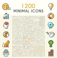 Set Of 1200 Minimalistic Solid Line Coloured Network Icons . Isolated Vector Elements