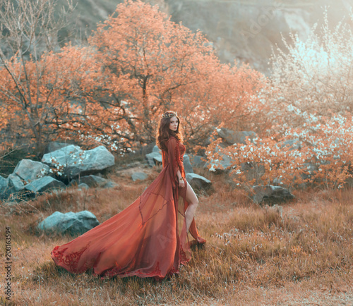 Printed kitchen splashbacks Brown A brunette girl with a golden crown and in a red dress in a long train walking at sunset. Background wildlife, flowering trees, sunlight, lush grass. Artistic photo