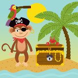 pirate monkey on island near treasure chest  - vector illustration, eps