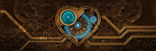 Steam Punk Heart Full Of Life With Digital Lights