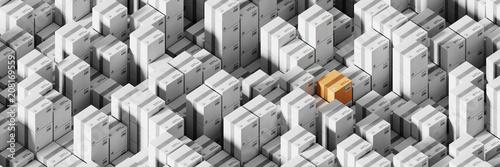 Infinite shipping boxes, transportation and logistics concept, original 3d rendering illustration