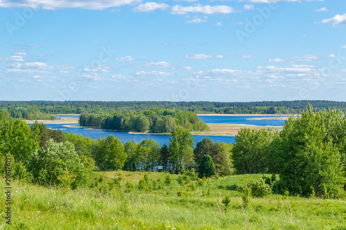 Spoed Foto op Canvas Nieuw Zeeland Beautiful view of the hills and lakes of Braslav region, Belarus