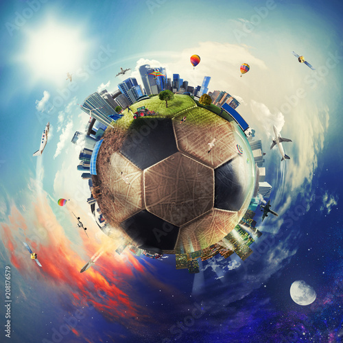 Global view of soccer world. football ball as a planet