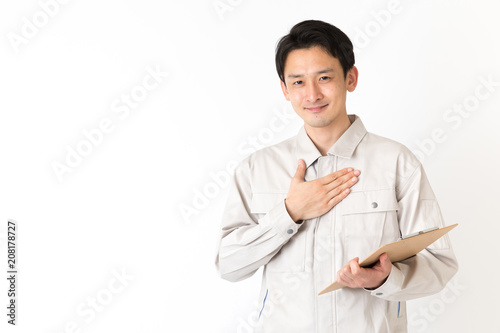 Carta da parati  作業服を着た男性 白バックイメージ