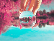 Upside Down Hand Holding A Crystal Photo Ball At A Park With A Pond And Trees Toned With A Retro Vintage Filter