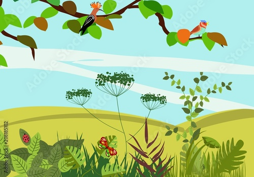 Fotobehang Lichtblauw Summer Nature landscape, river, green hills, plants, insects, concept vector