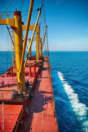 Cargo Ship Sailing in High Sea