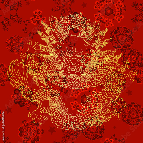 This is a traditionally Chinese ornament with a dragon and clouds Wallpaper Mural