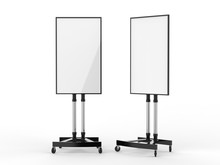 Mobile Blank White Screen TV Trolley Stand Mount Cart Exhibition LED Advertising Display. 3d Render Illustration.