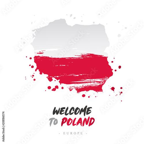 Witamy w Polsce. Flaga i mapa kraju