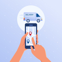 Hands Holding Smartphone With Opened Package Trace Tracker Application. Parcel Online Mobile Tracking And Tracing Concept. Map With Navigation Pins Vector Flat Design Illustration On Blue Background.