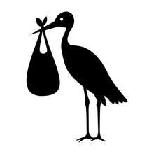 Stork And Baby Bag Silhouette
