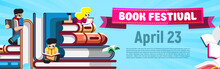 Colorful Promotion Poster With Banner Book Festival And Date On Blue With Small Characters Reading Books