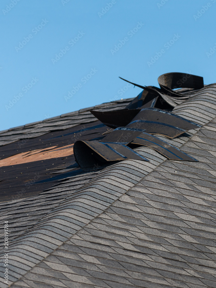 Fototapeta Damaged roof