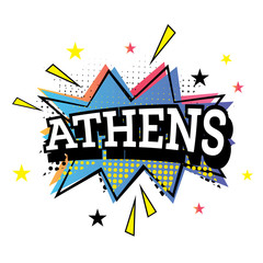 Athens Comic Text in Pop Art Style.
