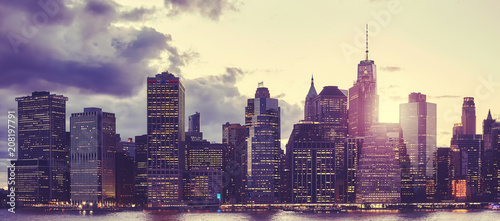 Poster New York City Manhattan skyline at sunset, color toned picture, New York City, USA.
