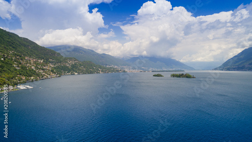 Papiers peints Bleu nuit Aerial view of Lake Maggiore and the island of Brissago
