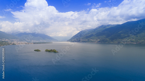 Staande foto Nachtblauw Aerial view of Lake Maggiore and the island of Brissago