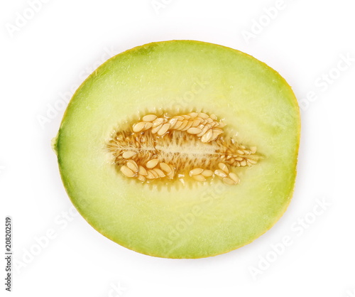 Fresh cantaloupe melon cut, sliced in half isolated on white background, top view