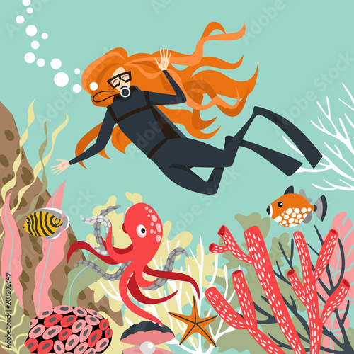 scuba diver explores coral reef vector illustration in cartoon
