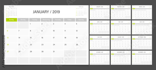 Fotografia  Calendar 2019 week start on Sunday corporate design planner template