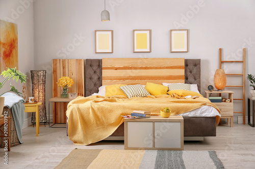 Fototapety, obrazy: Interior of beautiful room with comfortable double bed