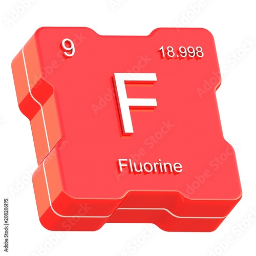 Fluorine Element Symbol From Periodic Table On Futuristic Red Icon