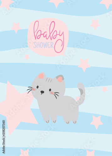 Baby Shower Invitation Cardbirthday Cardcat Poster Greeting Template